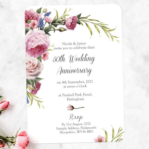 50th Wedding Anniversary Invitations - Vintage Flowers