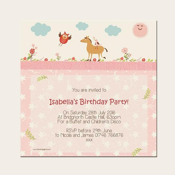 Personalised Kids Birthday Invitations - Vintage Pony - Pack of 10