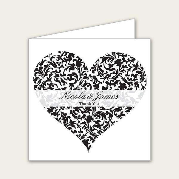 Heart Pattern - Wedding Thank You Cards