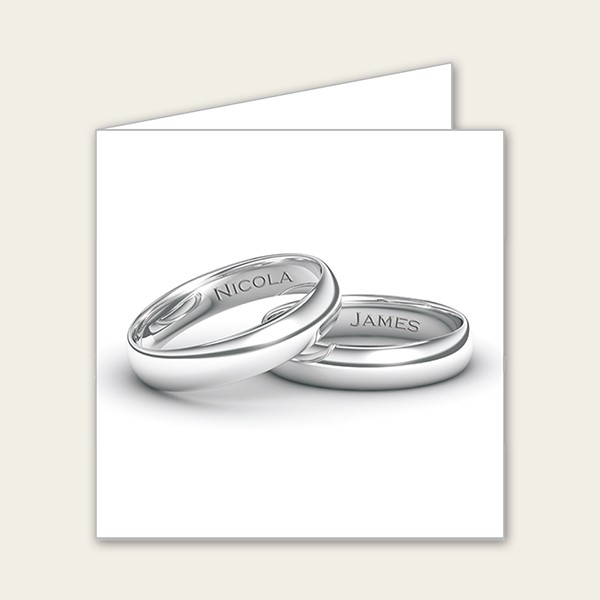 Add Your Names Silver Rings - Wedding Thank You Cards