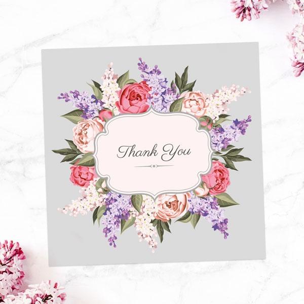 Anniversary Thank You Cards - Hyacinth & Peony Frame