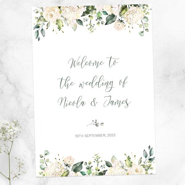 white-flower-garland-wedding-sign-range