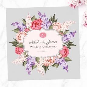 25th Wedding Anniversary Invitations - Hyacinth & Peony Frame