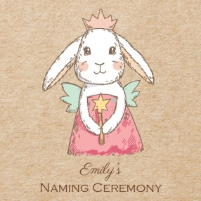 Naming Ceremony Invitations - Bunny Fairy - Postcard - Pack of 10