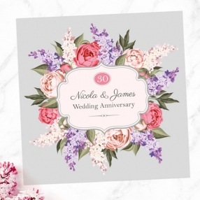 30th Wedding Anniversary Invitations - Hyacinth & Peony Frame