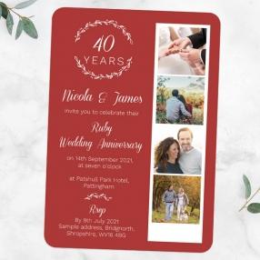40th-Wedding-Anniversary-Invitations-Photo-Strip-Leaf-Pattern