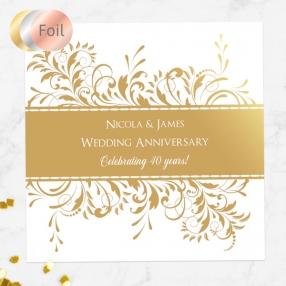 40th Foil Wedding Anniversary Invitations - Antique Swirls