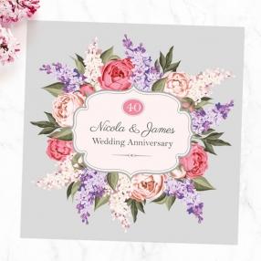 40th Wedding Anniversary Invitations - Hyacinth & Peony Frame