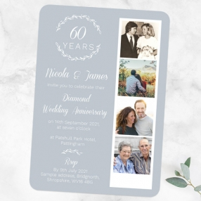 60th-Wedding-Anniversary-Invitations-Photo-Strip-Leaf-Pattern