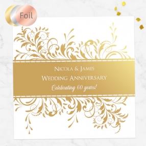 60th Foil Wedding Anniversary Invitations - Antique Swirls