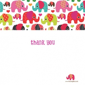 Thank You - Girls Elephant Pattern - Postcard - Pack of 10