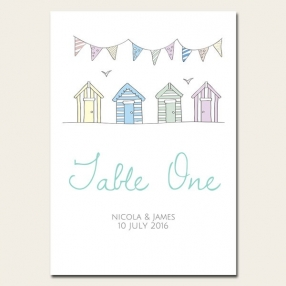 Bunting & Beach Huts - Table Name/Number