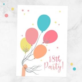 18th-birthday-invitations-tied-balloons