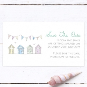 Bunting & Beach Huts - Save the Date Magnets