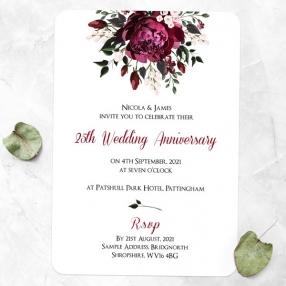 25th Wedding Anniversary Invitations - Burgundy Peony Bouquet