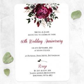 60th Wedding Anniversary Invitations - Burgundy Peony Bouquet
