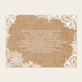 Rustic Lace Pattern - Gift Poem Cards