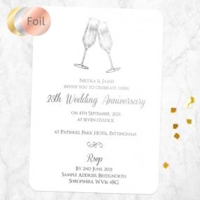 25th Foil Wedding Anniversary Invitations - Champagne Fizz