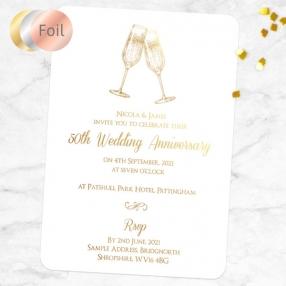 50th Foil Wedding Anniversary Invitations - Champagne Fizz