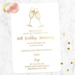 60th Foil Wedding Anniversary Invitations - Champagne Fizz