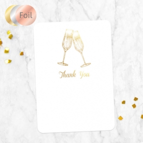 Foil Anniversary Thank You Cards - Champagne Fizz