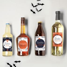 Creepy Pumpkin Castle - Halloween Bottle Labels - Assorted Pack of 9