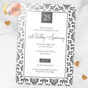 25th Foil Wedding Anniversary Invitations - Damask Frame