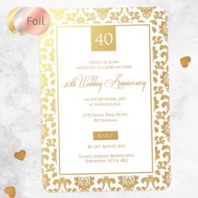 40th Foil Wedding Anniversary Invitations - Damask Frame