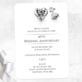 60th Wedding Anniversary Invitations - Diamond Heart