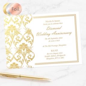 60th Foil Wedding Anniversary Invitations - Elegant Damask