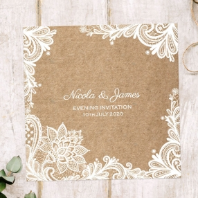 Rustic Lace Pattern - Evening Invitations