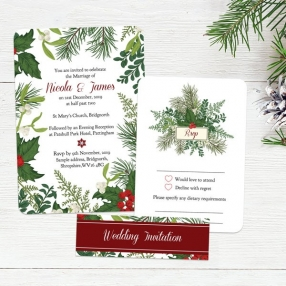 Festive Winter Foliage - Boutique Wedding Invitation & RSVP