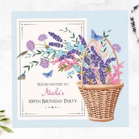 100th Birthday Invitations - Flower Basket