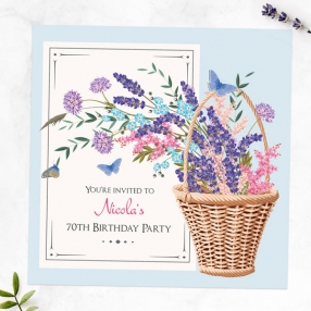 70th Birthday Invitations - Flower Basket