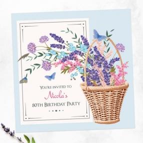 80th Birthday Invitations - Flower Basket
