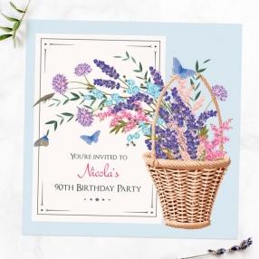 90th Birthday Invitations - Flower Basket