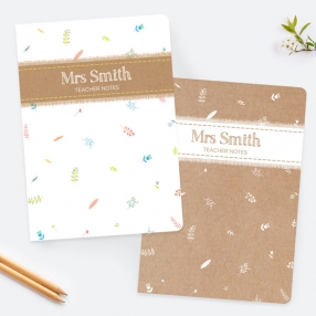 Kraft Scattered Flowers - Personalised A5 Exercise Books - Pack of 2