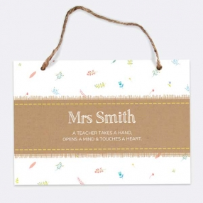 Kraft Scattered Flowers - A5 Personalised Teacher Sign