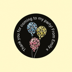 Leopard Print Balloons - Sweet Cone Stickers - Pack of 35