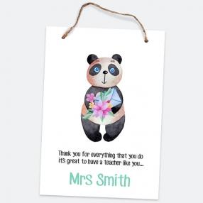 Little Panda - Portrait - A5 Personalised Teacher Sign