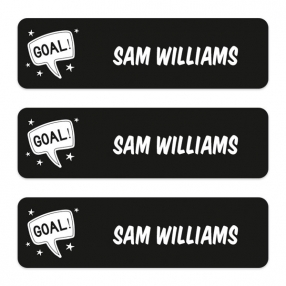 Medium-Personalised-Stick-On-Waterproof-(Equipment)-Name-Labels-Football-Crazy-Goal-Pack-of-42