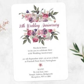25th Wedding Anniversary Invitations - Painted Flowers