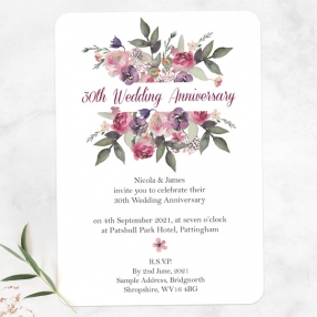 30th Wedding Anniversary Invitations - Painted Flowers