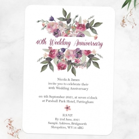 40th Wedding Anniversary Invitations - Painted Flowers