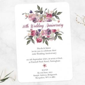 50th Wedding Anniversary Invitations - Painted Flowers
