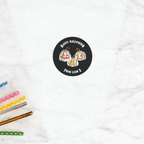 Pumpkin Trio - Halloween Sweet Cone Bag & Sticker - Pack of 35