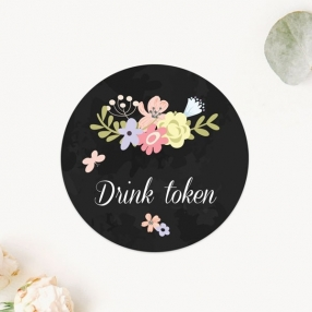 Rustic Chalkboard Flowers - Drink Tokens - Pack of 30