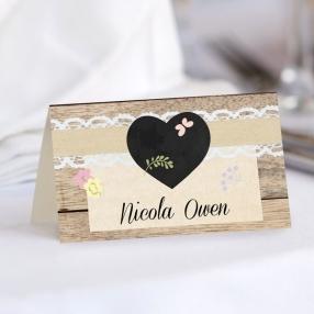 Rustic Chalkboard Flowers - Wedding Place Cards