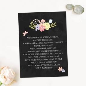 Rustic Chalkboard Flowers - Gift Poem Cards