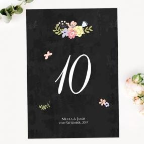 Rustic Chalkboard Flowers - Table Name/Number